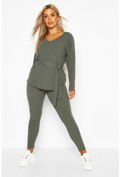 Womens Khaki Plus Soft Rib Tie Waist Top & Legging Co-Ord
