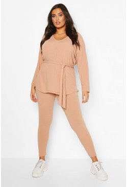Stone Plus Soft Rib Tie Waist Top & Legging Co-Ord