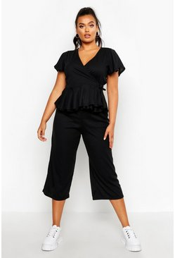 Womens Black Plus Rib Wrap Cap Sleeve Top & Culotte Co-Ord