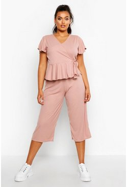 Womens Blush Plus Rib Wrap Cap Sleeve Top & Culotte Co-Ord