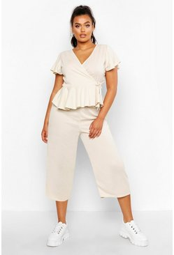 Womens Stone Plus Rib Wrap Cap Sleeve Top & Culotte Co-Ord