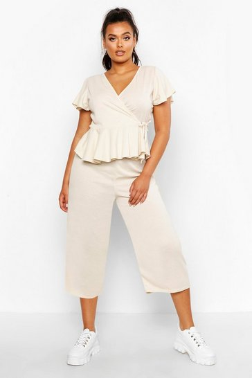 Stone Plus Rib Wrap Cap Sleeve Top & Culotte Co-Ord