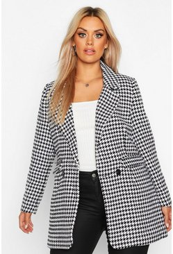 Womens Black Plus Dogtooth Heavy Weight Blazer