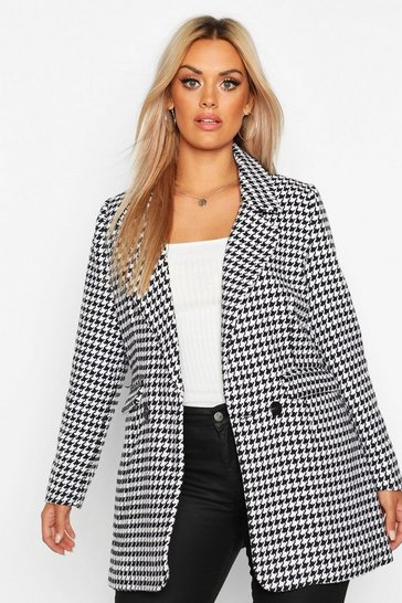 Black Plus Dogtooth Heavy Weight Blazer