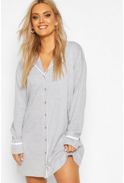 Grey Plus Button Through Night Shirt Dress