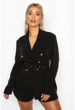 Black Plus Premium Button Detail Belted Blazer