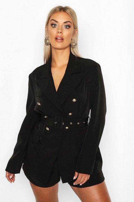 Plus Premium Button Detail Belted Blazer