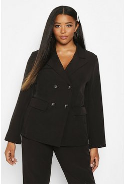 Womens Black Plus Premium Longline Blazer