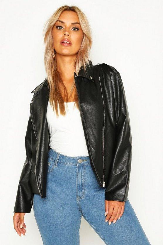 Plus Leather Look Pu Jacket