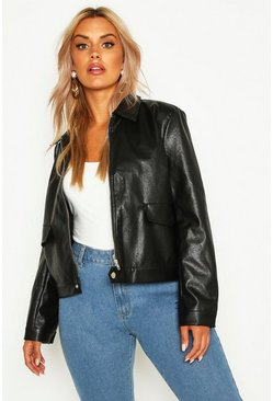 Womens Black Plus Leather Look Pu Jacket