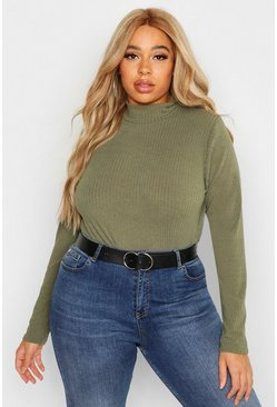 Womens Khaki Plus Rib Knit Turtle Neck Sweater