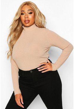 Womens Stone Plus Rib Knit Turtle Neck Jumper