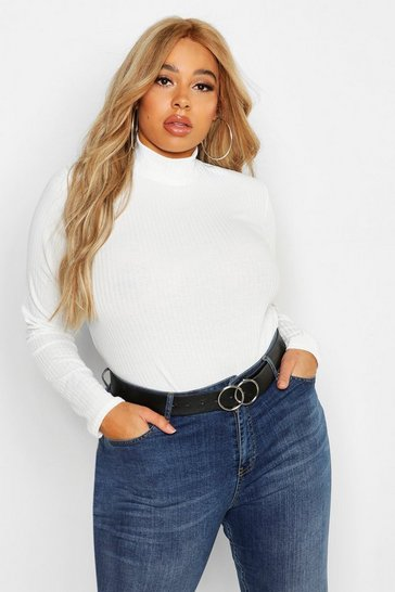 Womens White Plus Rib Knit Turtle Neck Jumper