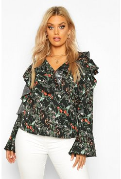Womens Black Plus Floral Ruffle Woven Top