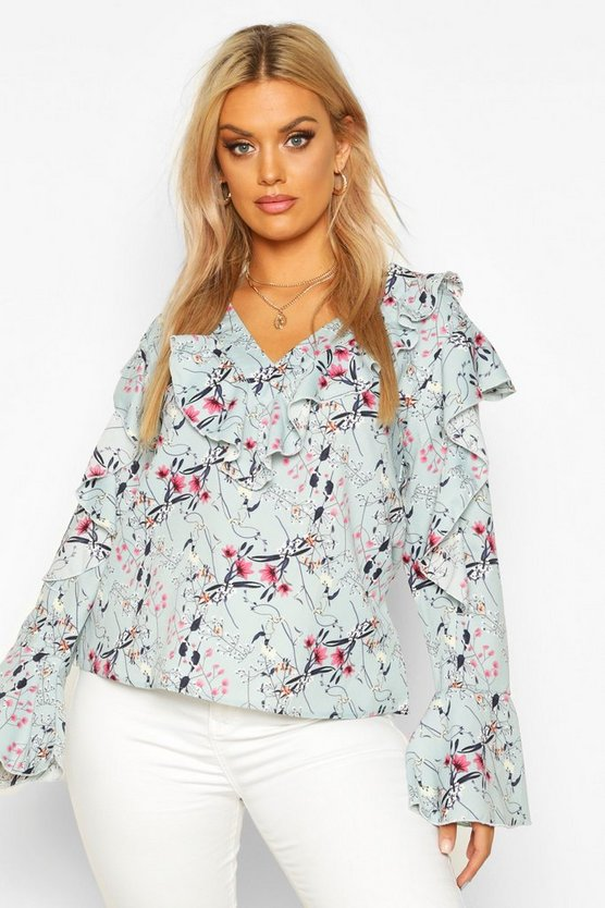Plus Floral Ruffle Woven Top