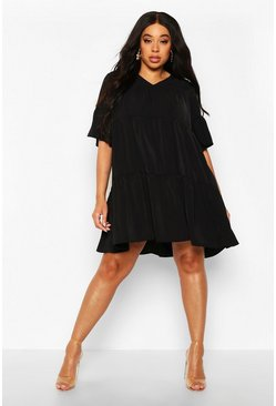 Womens Black Plus Ruched Detail Smock Dress