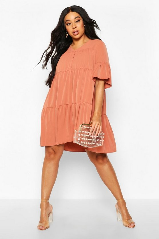 Terracotta Plus Ruched Detail Smock Dress