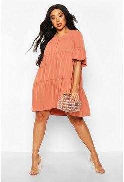 Dam Terracotta Plus Ruched Detail Smock Dress
