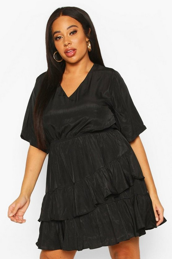 Plus Ruffle Woven Skater Dress by Boohoo