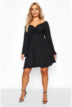 Womens Black Plus Puff Sleeve Ruched Detail Skater Dress