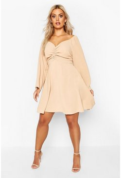 Tan Plus Puff Sleeve Ruched Detail Skater Dress