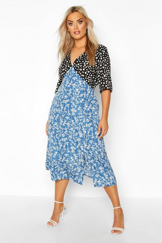 Womens Blue Plus Contrast Floral Side Split Midi Dress