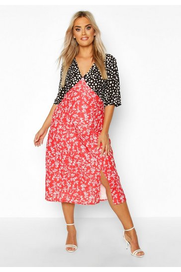 Womens Red Plus Contrast Floral Side Split Midi Dress