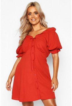 Womens Rust Plus Ruffle Button Down Skater Dress
