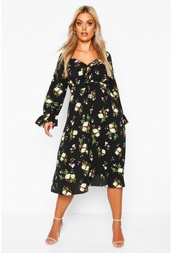 Black Plus Floral Ruffle Detail Midi Dress