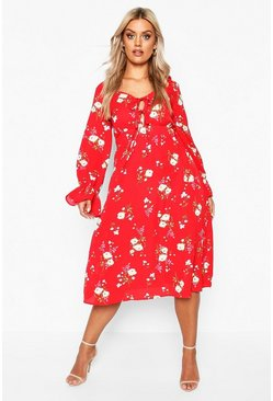 Red Plus Floral Ruffle Detail Midi Dress