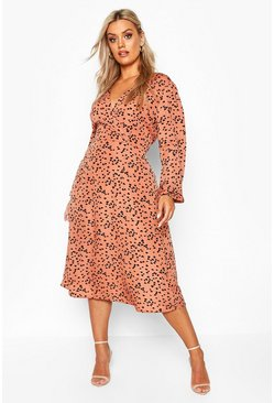 Terracotta Plus Heart Print Wrap Midi Dress