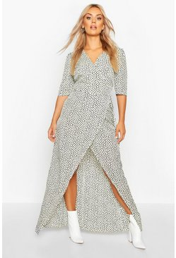 Ivory Plus Dotty Wrap Tie Waist Maxi Dress