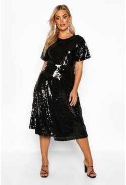 Womens Black Plus Sequin Midi Smock Dress