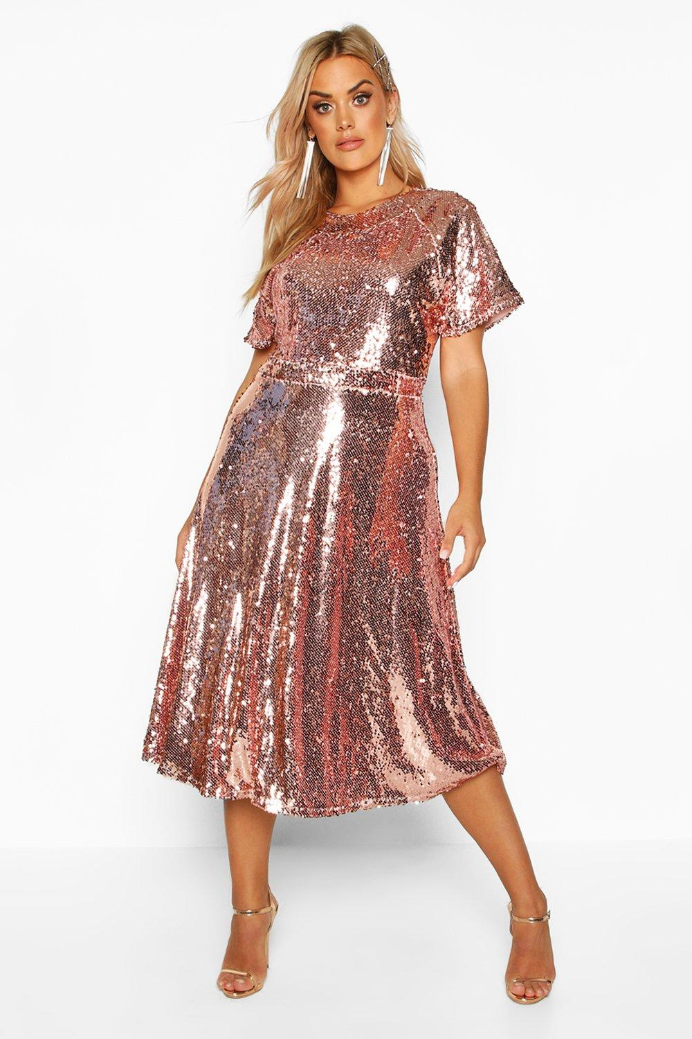 60s 70s Plus Size Dresses, Clothing, Costumes Womens Plus Sequin Midi Smock Dress - pink - 16 $76.00 AT vintagedancer.com