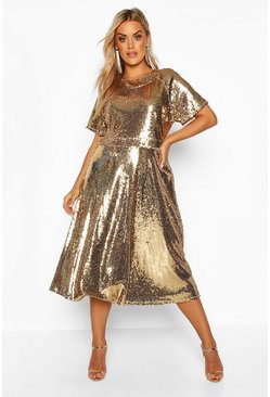 Womens Gold Plus Sequin Midi Smock Dress