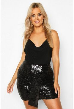 Womens Black Plus Ruched Sequin Mini Skirt