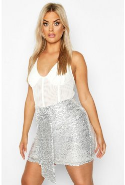 Silver Plus Ruched Sequin Mini Skirt