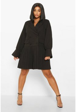 Black Plus Pleated Hem Blazer Dress