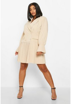 Womens Nude Plus Pleated Hem Blazer Dress