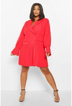 Red Plus Pleated Hem Blazer Dress