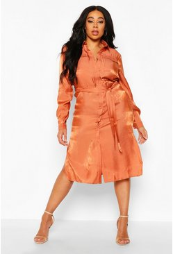 Terracotta Plus Metallic Shirt Midi Dress