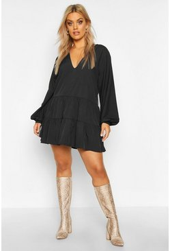 Black Plus Tiered V Neck Smock Dress