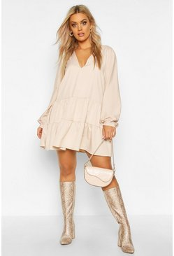 Stone Plus Tiered V Neck Smock Dress