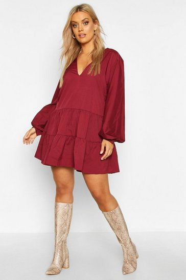 Wine Plus Tiered V Neck Smock Dress