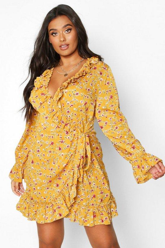 Plus Floral Print Ruffle Wrap Dress