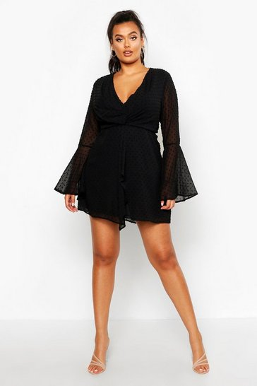 Womens Black Plus Dobby Plunge Front Flared Sleeve Shift Dress