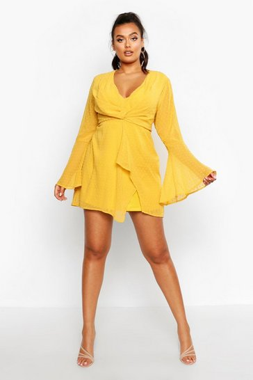 Mustard Plus Dobby Plunge Front Flared Sleeve Shift Dress