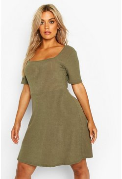 Womens Khaki Plus Square Neck Soft Ribbed Skater Dress