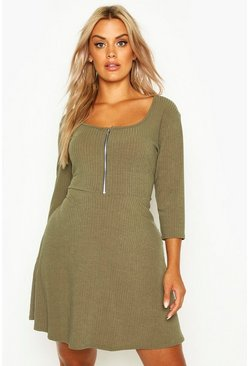 Dam Khaki Plus Soft Rib Zip Front Skater Dress