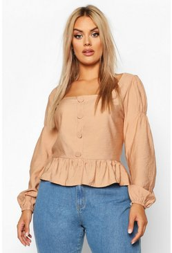Womens Tan Plus Button Detail Smock Top